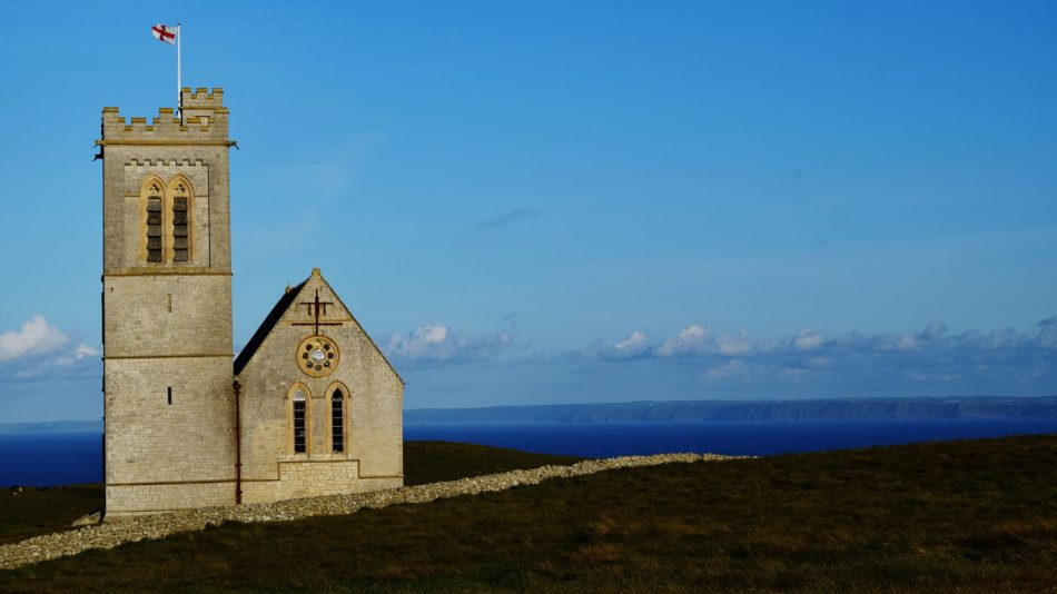 St Helen's Church with the mainland beyond (Photo by John Tyrer)