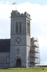 Emergency repointing work has already started and part of the church is scaffolded (Photo by Alan Rowland)