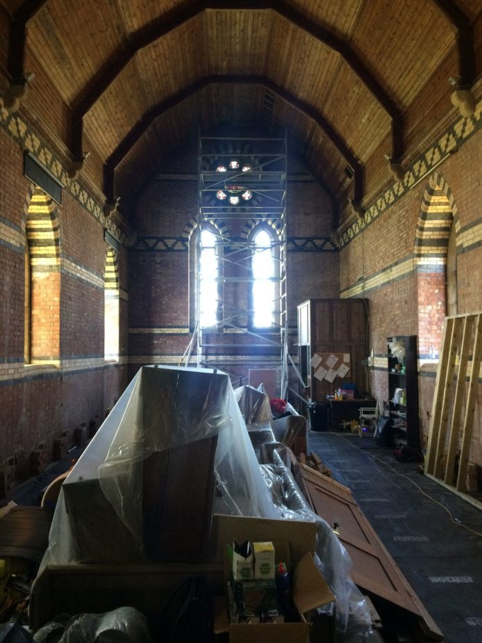 Nave with pews moved to centre