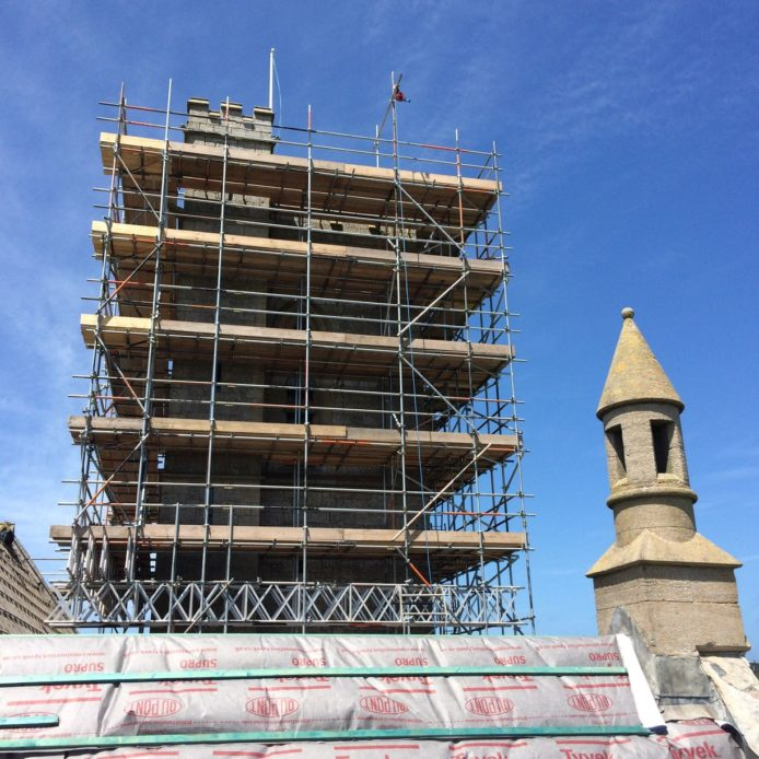 Tower in scaffold