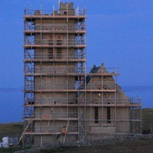 Church in scaffold